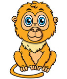 Cute cartoon tamarin monkey
