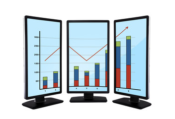 flat panels with chart