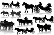 Set of 8 silhouettes of a horse put to a cart