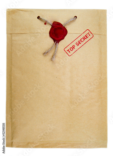 Top secret mail with knotted rope  and wax seal