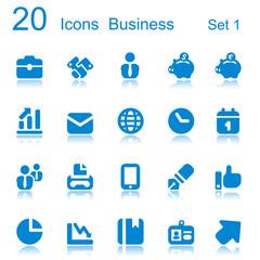 20 icons business blue reflex