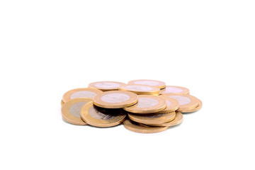 Pile of coins isolated on a white
