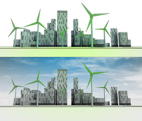 two city views with buildings and wind turbines