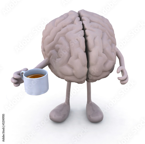 brain with arms and legs and cup of coffee