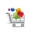Logo discount. Shopping cart and gift packs