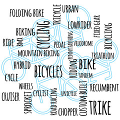 a bikes and cycling themed text graphic