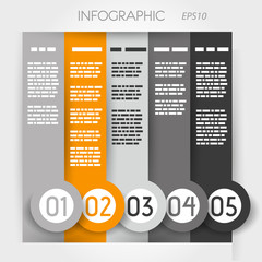 orange column infographic five options in big down rings