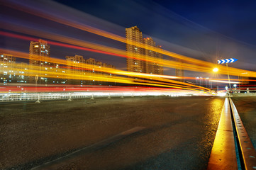 the light trails in shanghai in the night
