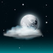 Vector Cloudy Night Sky Illustration with Moon and Stars