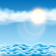 Illustration of Water Landscape with Sun and Clouds