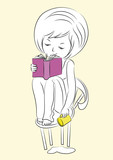 sketch-girl-with-book-cup