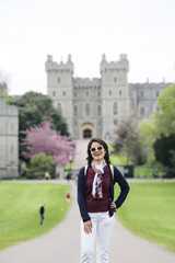 East Asian female tourist at Windsor Castle