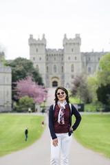East Asian female tourist at Windsor Castle
