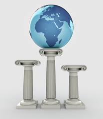 africa travel, earth globe ancient column