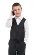 boy in suit with phone