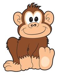 Happy cartoon monkey