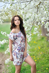 Portrait of young beautiful sexy woman outdoors