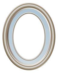 Cadre ovale gris argent et bleu