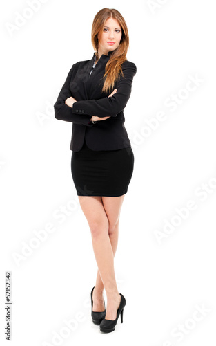 Full length smiling businesswoman