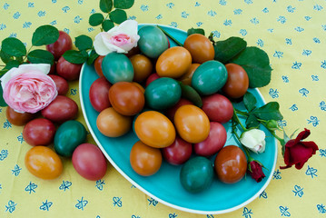 Easter eggs on a blue plate with spring roses