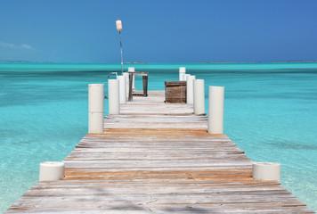 Wooden pier. Exuma, Bahamas