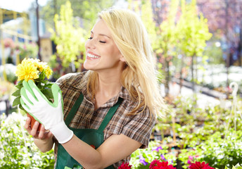 Woman working in garden center