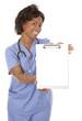nurse using stethoscope