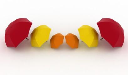 3d illustration multicoloured umbrellas on a white