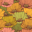 Seamless hand drawn vintage  pattern with flowers