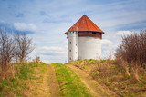 White tower of hydroelectricity in Bielkowo, Poland