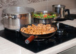 Cooking - kebab, pasta and vegetables