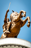 Statue of Alexander the Great in downtown of Skopje, Macedonia poster