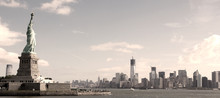 Panorama sur Manhattan, New York - image sépia
