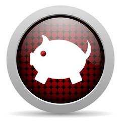 piggy bank glossy icon