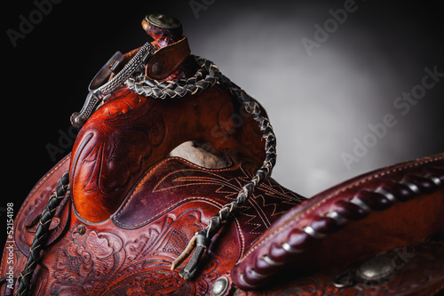 Leinwanddruck Bild horse saddle