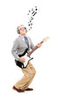 Middle aged man playing guitar and musical notes around