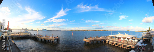 Panoramic view of the harbour in Newcastle, Australia
