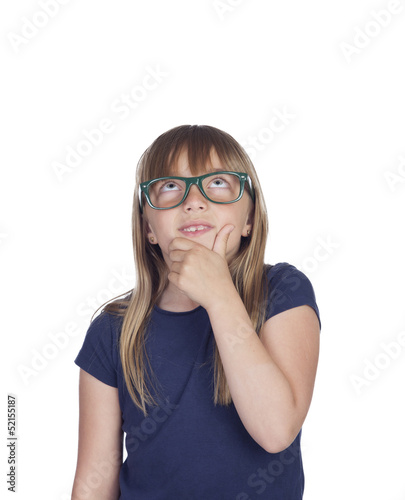 Pensive girl with blond hair and glasses