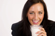 Attractive Brunette Female Drinks getting a Milk Mustache