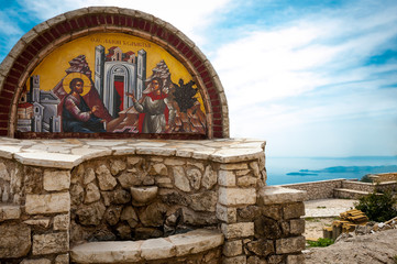 Religious picture in front of monastery on Pantokrator, Corfu, G