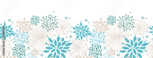 Vector blue and gray plants horizontal seamless pattern