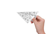 Hand hold Graph Paper plane isolated on white