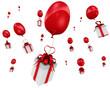 Подарочные коробки летают на воздушных шарах