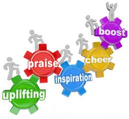 Uplifting Words Team Climbing Gears Praise Cheer Inspiration