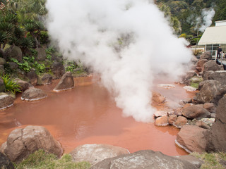 Blood Pond Hell in Beppu, Japan