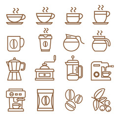 coffee icons set brown color