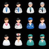 Medical people black background