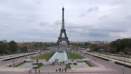 Eiffel Tower from the Esplanade du Trocadero, Paris, France.