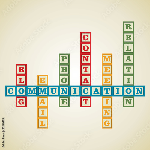 communication and related word block stock vector