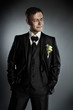 Wedding groom, Handsome man in black suit
